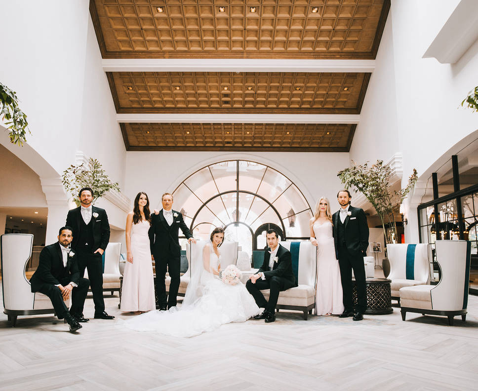 Bridal party in lobby